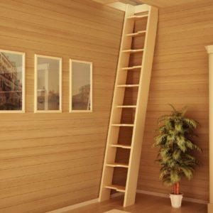 Деревянная приставная лестница